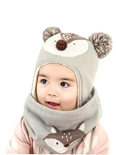 RUXIYI 2 Stück Baby Hut Kinder Herbst und Winter Strickmütze Schal Hut-Set Jungen und Mädchen Hut QXMZ-GY-S