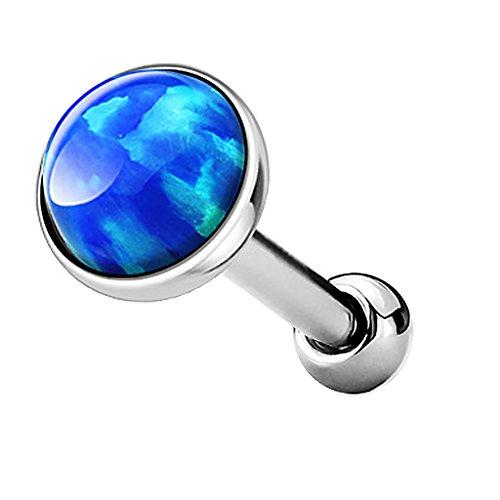 Piercingfaktor Tragus Piercing Helixpiercing Helix Ohr Cartilage Knorpel Stecker mit flachen Opal Steinen Rund Silber Blau 4mm