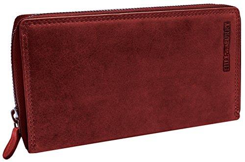 Hill Burry XXL Echt-Leder Portemonnaie | Reißverschluss Portmonee aus weichem Vintage Leder | Hochwertige Geldbörse - Clutch | Lange Multicard Handtasche - Organizer Mappe (Rot)