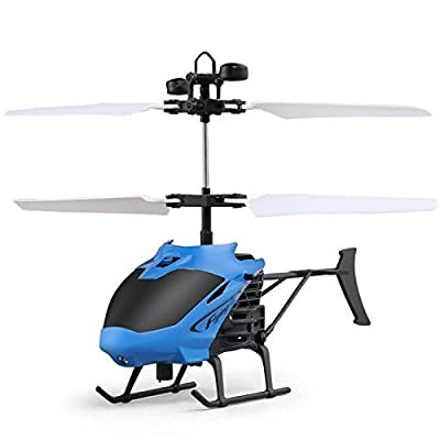 Enjoydeal RC Drone,Mini Helicopter Induction Remote Control Hand Induction Flying Aircraft USB Recharegable Electric Toys D715-1 with Flash Light for Adults,Kids, Blue