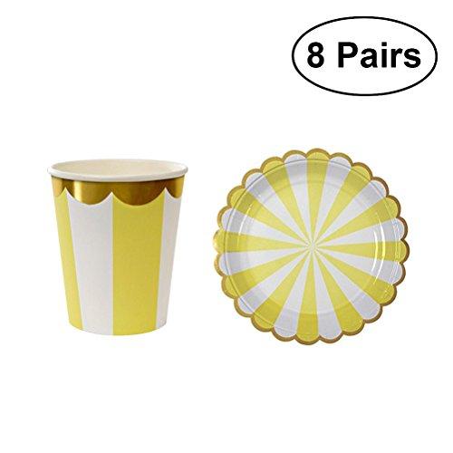 TOYMYTOY 16 Stück Party Geschirr, Einweg-Papier Teller Teller Tassen für Hochzeit Birthday Party Supplies - Die Papier Platten Gelben Hellen