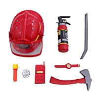 Toyvian 9pcs Fireman Gear Firefighter Costume Role Play Toy Set for Kids with Helmet and Accessories