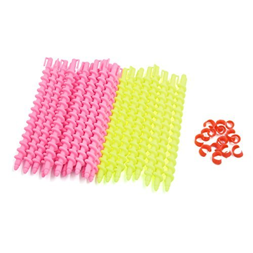 DealMux 22pcs Rosa Gelb 15.5cm DIY Haar-Torsion-Stock-Spiral-Lockenwickler Friseurwerkzeug