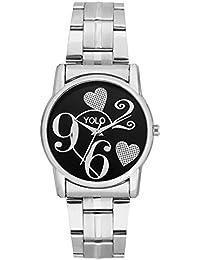 Yolo Quartz Women's / Ladies / Girls Black Round Dial Analog Wrist Watch With Silver Metal Strap (YLC-094) - Valentine...