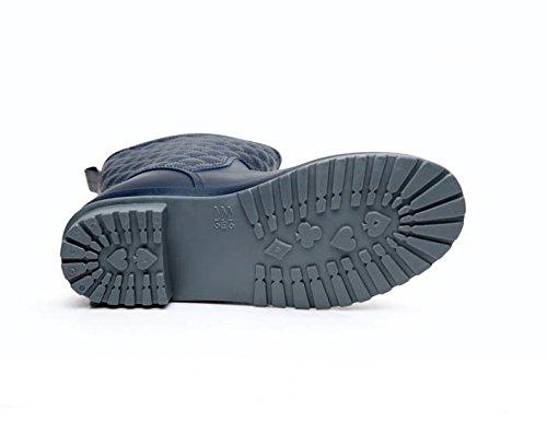 Adulto Antiscivolo Scarpe di gomma Moda Tenere in caldo Stivali da pioggia Blue
