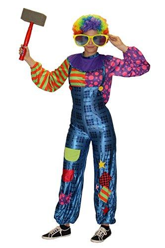 Foxxeo Traje de Payaso para Damas con Peto y Top de Colores - Talla: S-XL - Carnaval de Carnaval, Talla: L-XL