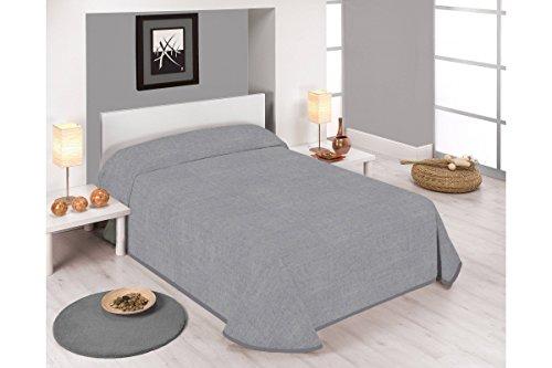 Sabanalia - Colcha estampada Stone (Disponible en varios tamaños y colores) - Cama 90 - 180 x 280, gris