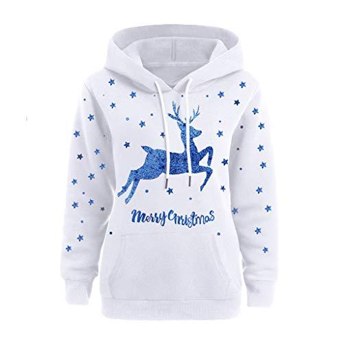 INLLADDY Damen Weihnachts Kapuzenpullover Weihnachts Druck Hoodie Sweatershirt Elch Kapuzen Pulli Bluse Casual Festlich Kleidung Top Outwear Blau 3XL