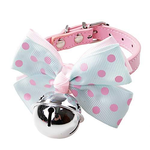 YOYGADING Haustier PU Lederhalsband Bowtie mit Bell Bowknot für kleine Hunde Katzen, verstellbare Schnalle,rosa Blauer Punkt + Silberne Glocke,32 * 1cm