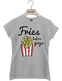 Batch1 'Fries Before Guys' Women's T-Shirt - Fun Fast Food Novelty Slogan