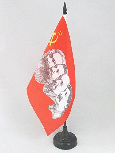 AZ FLAG TISCHFLAGGE DIE UDSSR 4 KOMMUNISTEN 21x14cm - SOWJETUNION TISCHFAHNE 14 x 21 cm - Flaggen
