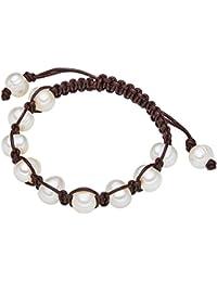 Valero Pearls - Pulsera de cuero embellecida con Perlas de agua dulce - Cuero - Pearl Jewellery, Pulseras, Collar de cuero, Pulsera de Cuero, Complementos de cuero - 60020026