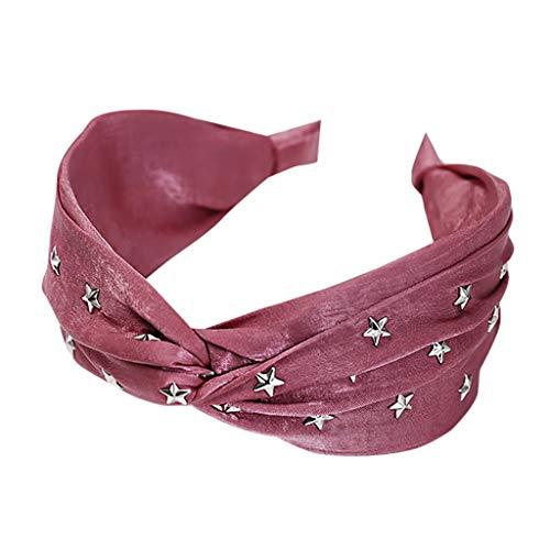 Aploa Mode Vintage Stern Kreuz breite Seite Reine Farbe Haarband Sport Stirnband Damen Yoga Sport Elastisch Stirnbänder Stirnband Kopfband Haarband Turban Haarschmuck (Pink) -