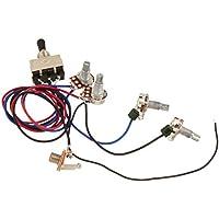 2T1V perillas de control 5-Way Switch 500K macetas con Jack para el reemplazo de guitarra de estilo Strat punta negra Kits de arn/és de cableado de la guitarra el/éctrica