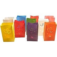 10x Bolsas de luz/Linternas Diseño: 2Enamorados Corazones de papel multicolor en diferentes colores para velas de té y otros velas (27cm x 15m x 9cm)...
