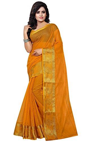 Trendz Women's cottan Silk Saree(TZ_Turmeric)
