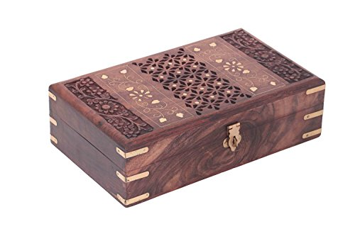 Wooden Jewelry Box with Carving Jaly n Inlay Work,Jewelery Storage Box