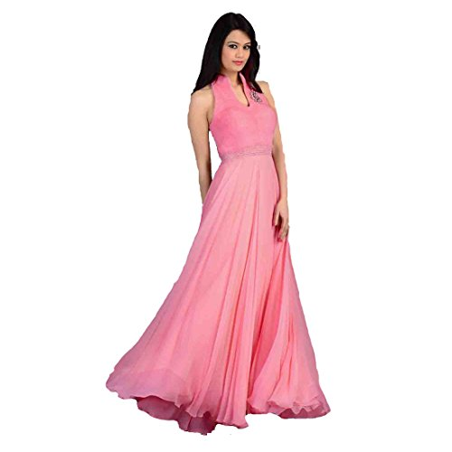 Fabfirki Womens Georgette Anarkali Dress (Fa251-1001 _Blue _Free Size)