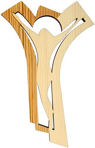 Kaltner Präsente Geschenkidee - 24 cm Wandkreuz Echtes Holz Kreuz Kruzifix modern für die Wand Höhe gefertigt im Grödner Tal Südtirol