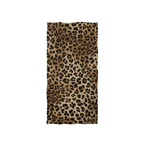 Naanle Pretty - Toalla de baño Multiusos con Estampado de Leopardo para baño, Gimnasio, Deportes, Viajes, SPA, Hotel, 76,2 x 38,1 cm