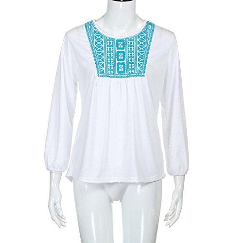 Damen Bluse, feiXIANG Damen Drucken Langarm T-shirt Weiß