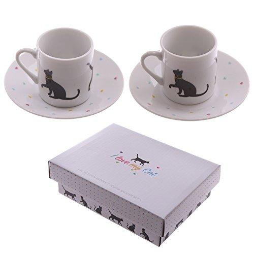 Espresso Tasse & Untertasse 2er Set I Love My Cat
