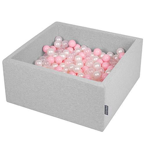 KiddyMoon 90X40cm/200 Balles ∅ 7Cm Carré Piscine À Balles pour Bébé Fabriqué en UE, Gris Clair: Rose Poudré-Perle-Transparent