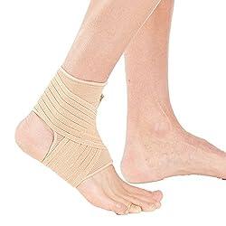 Actesso Elastische Knöchel Bandage - Sprunggelenk mit Wickelband. Die Ultimative Fussbandage für zerrungen, verstauchungen und Sport (Beige, Groß (25-28))