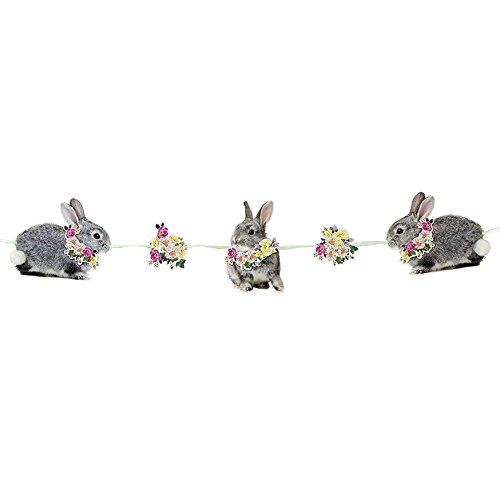 Talking Tables Truly Bunny Décoration à Suspendre en Forme de Lapin et Fleurs avec Pompon pour Anniversaire, Fête d'Enfants, Enfant, 1er Anniversaire, Goûter Festif, Pâques et Festivités, Multicolo