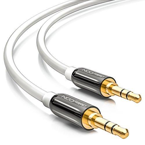 deleyCON 3m Klinkenkabel 3,5mm AUX Kabel Stereo Audio Kabel Klinkenstecker gerade für PC Laptop Handy Smartphone Tablet KFZ HiFi-Receiver weiß Weiß Stereo-audio