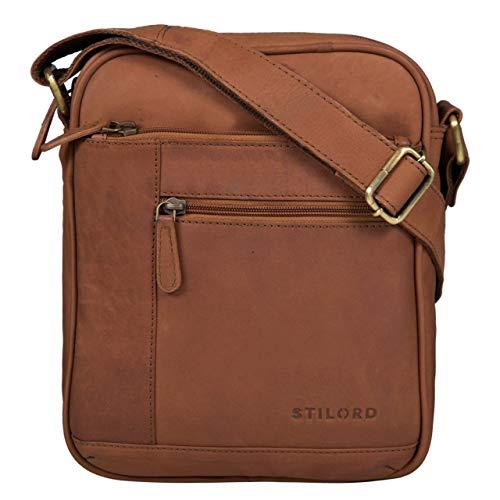 STILORD 'Diego' Vintage Herrentasche Leder Klein Umhängetasche für 9.7 Zoll iPad DIN A5 Schultertasche Cross-Body Bag für Männer Echtes Leder, Farbe:Sattel - braun -
