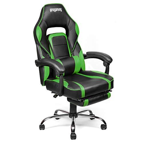 iprotect Gaming-Stuhl - Schreibtisch- und Bürostuhl für Gamer mit Kunstlederbezug und ausziehbarer Fußstütze in Grün und Schwarz|Belastbarkeit bis zu 200 kg