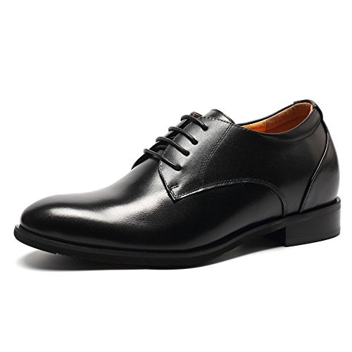 CHAMARIPA Mens Black Leather Elevator Lace up Shoes With height Increasing Insoles Look Taller 7.5CM/2.95 Inch-DX70H106S B074BS19MQ