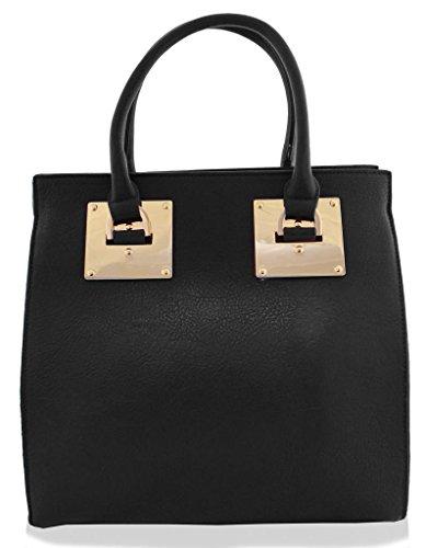 Kukubird Large Faux Leather Designer Handbag With Gold Metal Plate BLACK