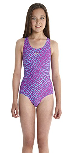 Speedo Mädchen Monogram Splashback Badeanzug mit Allover Print, diva/bali blue, 116, 8-08833A822116