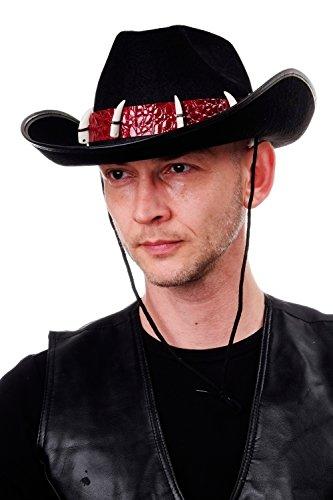 DRESS ME UP - Halloween Karneval Hut Cowboy Australien Dundee Großwildjäger Krokodilhaut Krokodilzähne schwarz H74