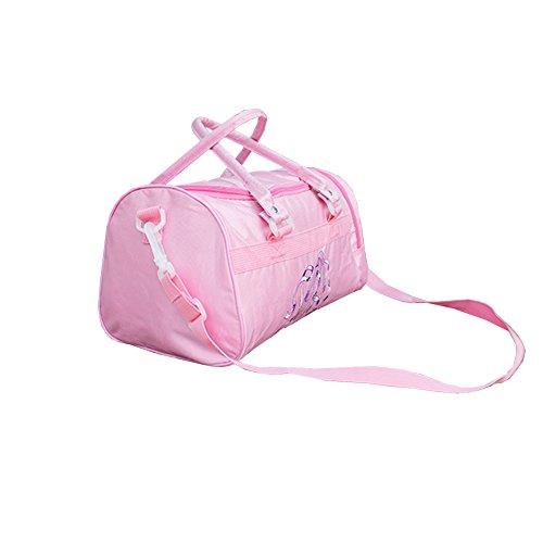 Lisianthus002 Borsa da danza per bambina con ricamo, Borsa impermeabile, tinta unita Rosa (rosa)