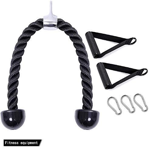CMYKZONE Trizeps- und Bizeps-Seil zum Herunterziehen, Trizeps-Zugseil, mit starkem Griff und Karabinerhaken, robust und langlebig, für Armstärken-Trainings Kombinationen