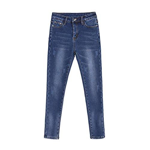 DaBag Pantaloni Donna Ragazzi Jeans Vita Alta Caldo in Inverno Denim Stretti Pantalone Tapered Pants Addensare Blu scuro