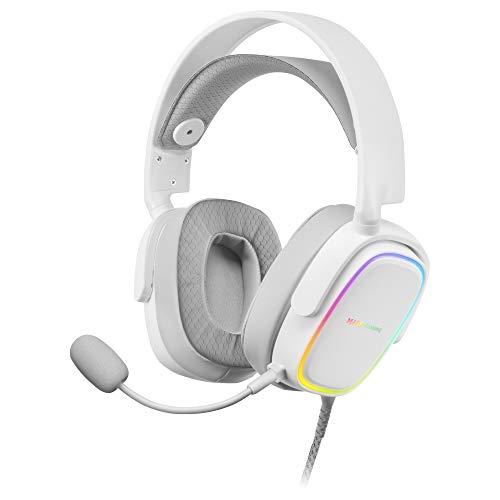 Oferta de MARSGAMING MHAXW Blanco, Auriculares RGB Multiplataforma+Mic extraíble, 53mm HIFI