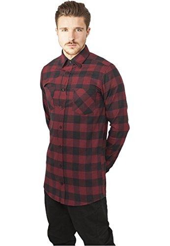 Urban Classics Herren Freizeithemd Long Checked Flanell Shirt Mehrfarbig (Blk/Burgundy 00651)