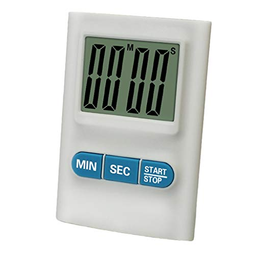 Timer da Cucina Timer in plastica Forte Timer per Il Conto alla rovescia Timer elettronico Cronometro Timer Compatto Bianco Blu Rosso Funzione di Pausa (Color : White, Dimensione : 5.5 * 7.8 * 1.2cm)