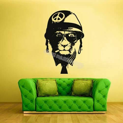 zhuziji Sister Quotes Adesivi murali personalità Casco Testa di Gatto Occhiali da Sole Peace War Cat S Vinilepvc Resistente all'acqua42x66cm