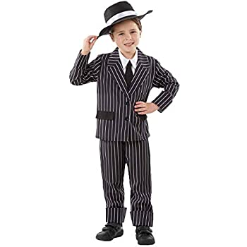 1920s Black Pinstripe Gangster Child Costume Mafia Boys Book Week Fancy Dress