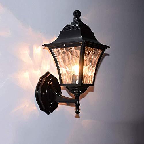 LZQ Wandleuchte Aus Glas, Hof E27 Rostfrei Wasserdicht Außenwandleuchte/Zaun Landschaft Beleuchtung Aluminiumlegierung Europäische Tür Wandleuchte,B,Lampe