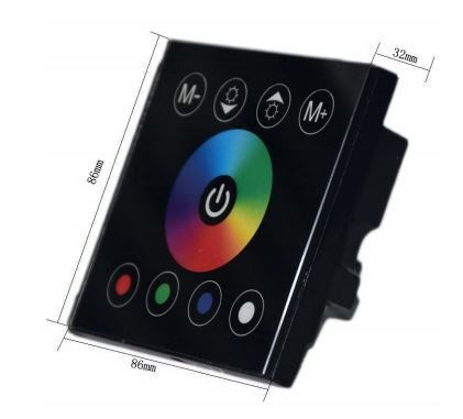 grandey DIY Home Beleuchtung New RGBW LED Touch Panel Controller für LED Neon Flex Strip Licht, DC12V Beleuchtung RGBW RGBWW LED Controller 12V/24V RGB Touch Controller RGBW-LED-Streifen Panel Wand-Controller
