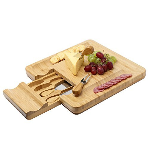Cracker Server (Kagura Bambus Käsebrett Cracker Servieren Besteck-Set mit ausfahrbaren Schublade Teller Messer, groß)