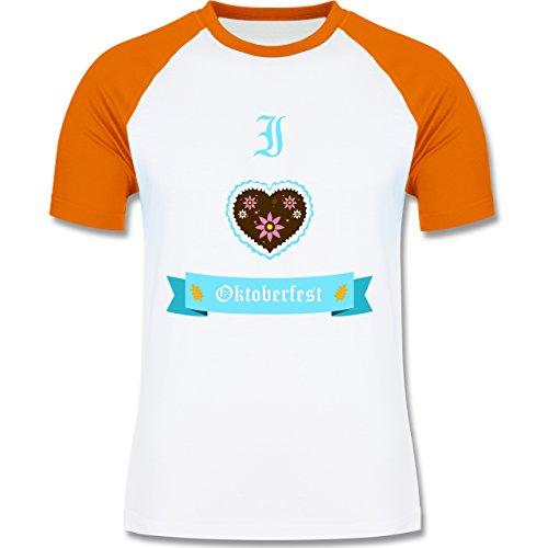 Oktoberfest Herren - I love Oktoberfest - zweifarbiges Baseballshirt für Männer Weiß/Orange