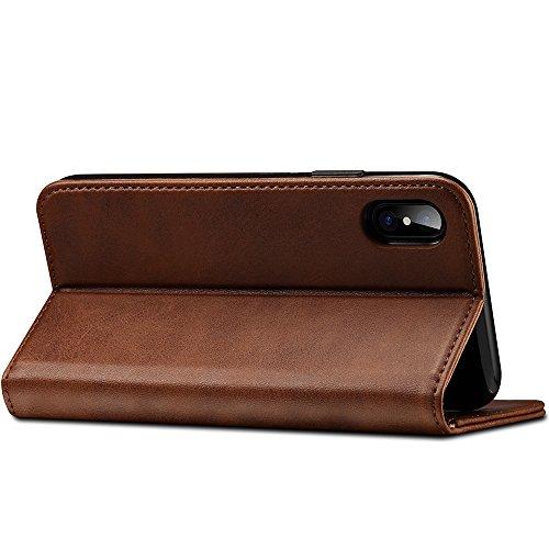 Apple iPhone X Leder Case Handy Hülle mit Kredit Karten Fach Handytasche und Brieftasche Schutzhülle,Schwarz Braun