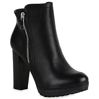 Stiefelparadies Gefütterte Damen Schuhe Plateau Boots Leder-Optik High Heels Stiefeletten 152121 Schwarz Zipper Brito 36 Flandell